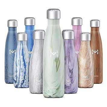 HOMPO Botella de Agua de Acero Inoxidable Botella Termica 500ml, Botella Sin Bpa & Eco Friendly, Mantiene Bebidas frías por 24h y Calientes por 12h, ...