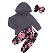 Baby Girls Clothes Long Sleeve Grey Hoodie Tops Flowers Pants Outfits with Headband Clothes Set(0-6 Months)