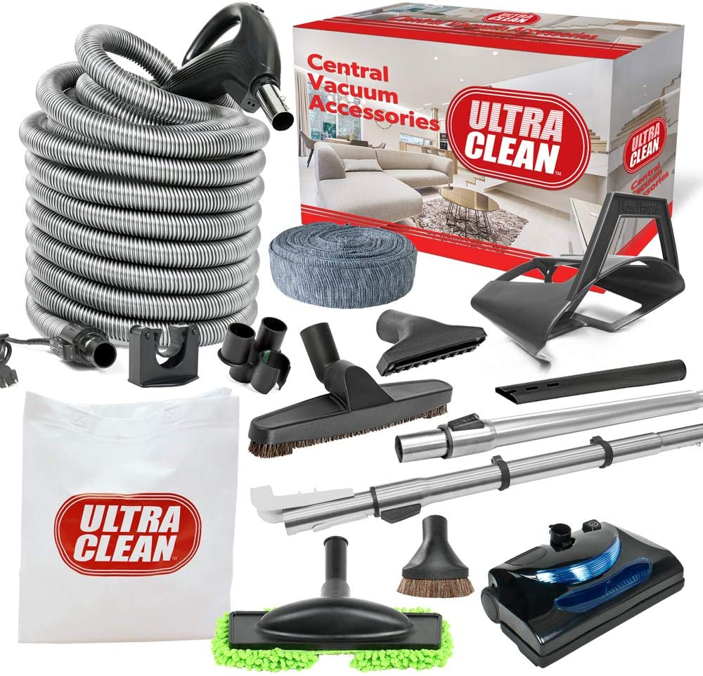 Ultra Clean Central Vacuum Electric Accessory Kit with Universal Powerhead – Hose and Deluxe Attachments (Black, 35 ft)