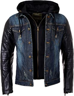 1916a33efae5 Young Rich Herren 2in1 Jeans Jacke gefüttert Kontrast blau schwarz mit  Kunstleder Ärmeln Kapuze vintage used destroyed