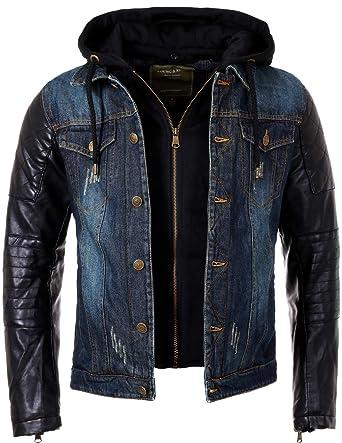 Veste jean manche cuir homme