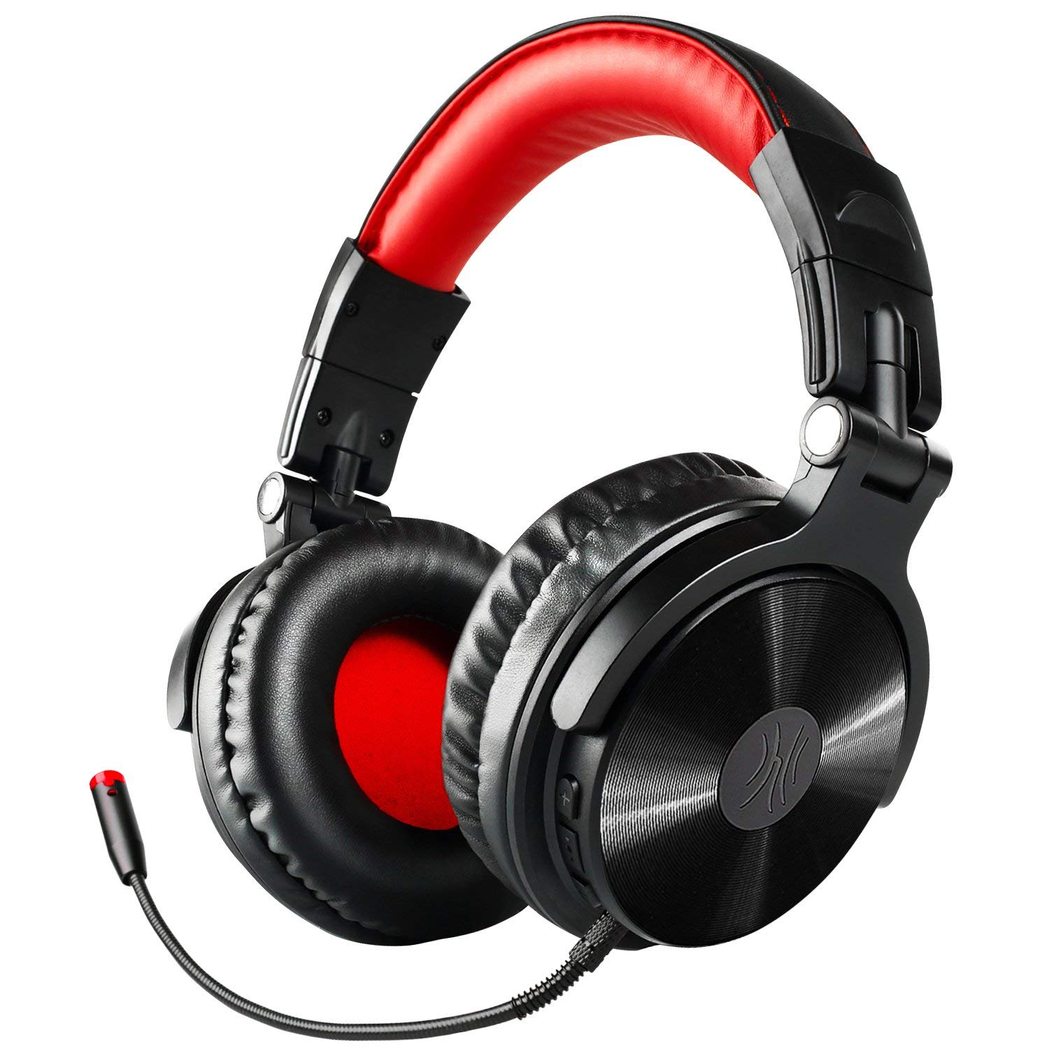 Bluetooth Over Ear Headphones with Microphone, 30 Hours Playtime Wireless Foldable Hi-Fi Headset, Noise Isolating Headphones with Wired Mode for Mobile Phones/PC/TV (black-red)