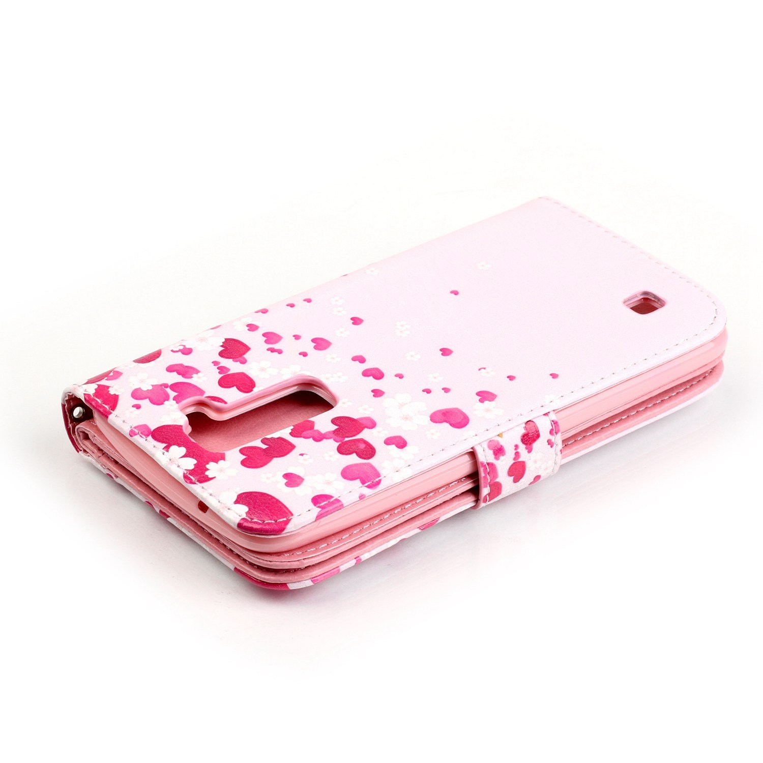 JuSha for Apply to LG K10 2016 Edge Case PU Leather Wallet Magnetic Cover Skin(Red Heart Phone Case)