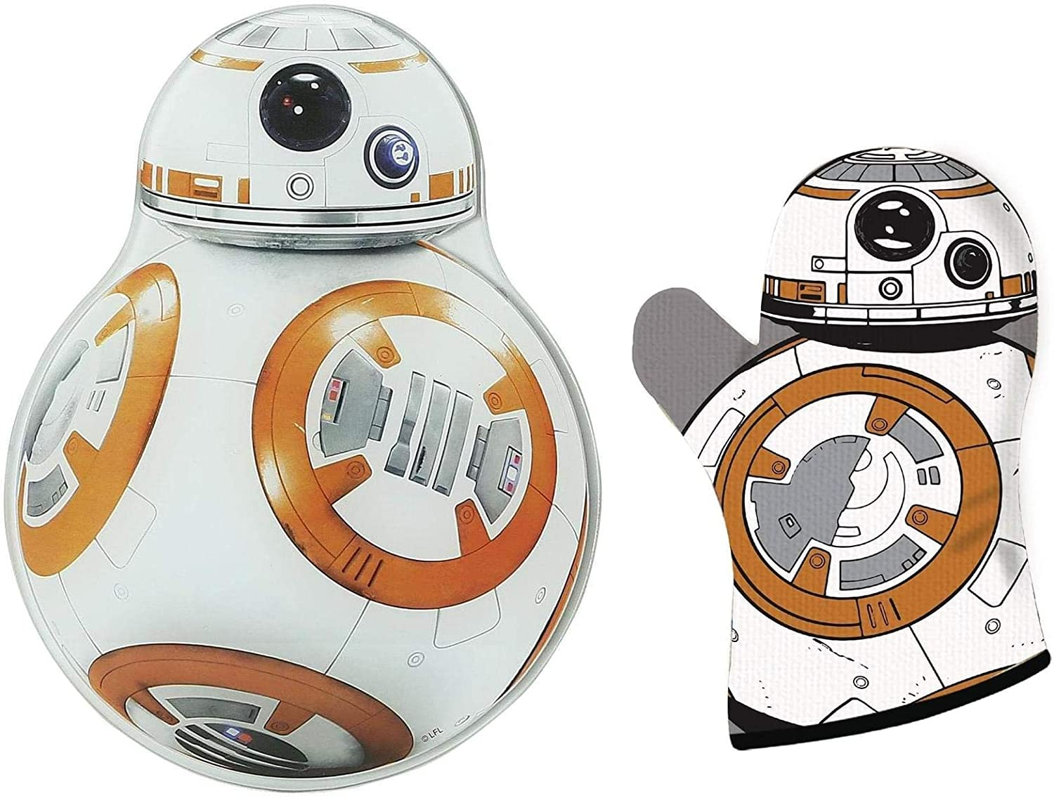 Toynk Star Wars BB-8 Glass Cutting Board and Oven Mitt Set