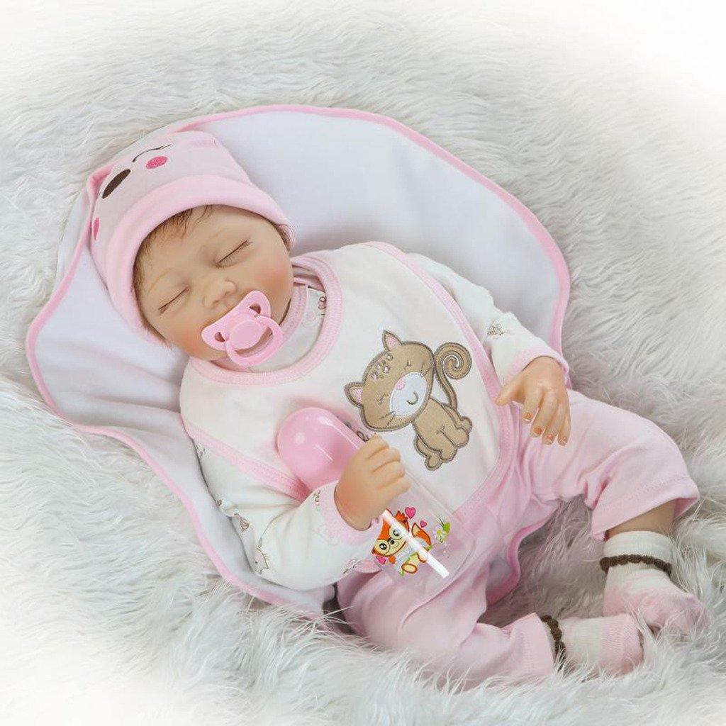 Nicery Reborn Baby-Puppe Weich Simulation Silikon Vinyl 55,9 cm 48–55 cm Kinder Freund magnetisch Mund lebensechte Toy Boy Mädchen Augen schließen mit Outfit für Thanksgiving schwarz Freitag Weihnachten Tag
