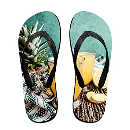 Beach Sunmer Pineapple Flip Flops Thong Beach Sandals Light Weight Non-slip Outdoor Water Slippers For Women Men