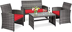 Tangkula 4 PCS Wicker Patio Conversation Set, Outdoor Rattan Sofas with Table Set, Patio Furniture Set with Soft Cushions & Tempered Glass Coffee Table for Poolside Courtyard Balcony (1, Red)