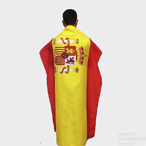 Bandera de España con escudo para uso exterior en mástil | Bandera española de buena calidad grande y de poliéster con medidas 150x90 cm apropiada también para uso interior: Amazon.es: Deportes y