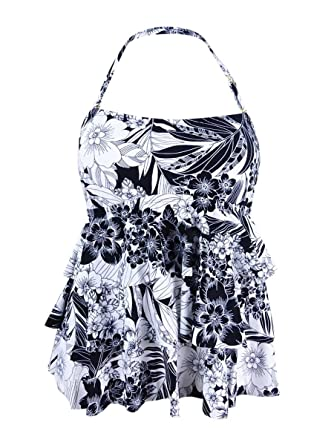ebf1ff836ff1a Island Escape Womens Tiered Floral Swim Top Separates B/W 10 at Amazon  Women's Clothing store: