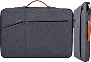 14 15 Inch Water-Resistant Laptop Briefcase Sleeve with Handle for Men Women for Acer Chromebook 14, Dell XPS 15 9570 9560, HP Pavilion X360 14, Lenovo Yoga C940/C930 Chromebook Carring Bag, Gray