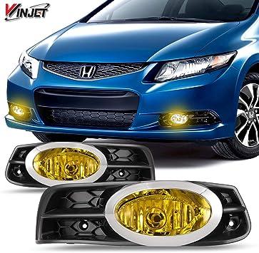 Add On Upgrade Yellow Lens Fog Light Bulb Switch Wiring Kit Set for Honda Civic