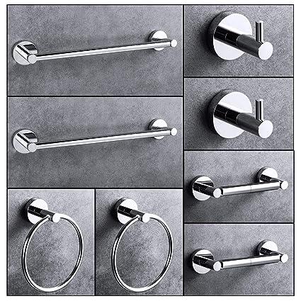 Kelixu - Juego de 8 piezas de accesorios de baño de acero ...