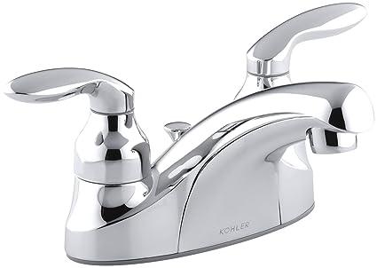 KOHLER KCP Coralais Centerset Lavatory Faucet Polished - Kohler coralais bathroom faucet