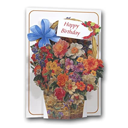 Feliz cumpleaños - Cesta de flores - un 3d Pop Up Tarjeta de ...
