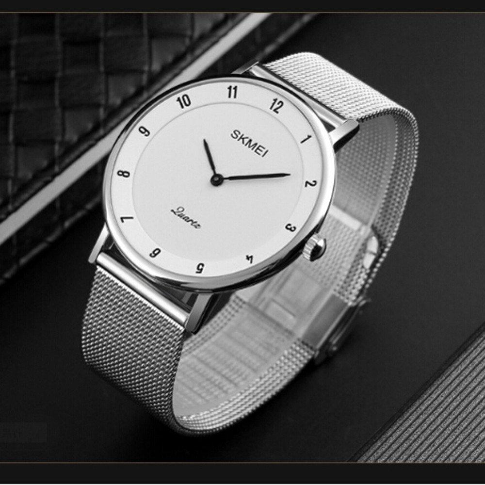 Men's Wrist Watches,30M Waterproof 6mm Ultra Thin Men's Business Quartz Watch Teen Fashion Watch(White)