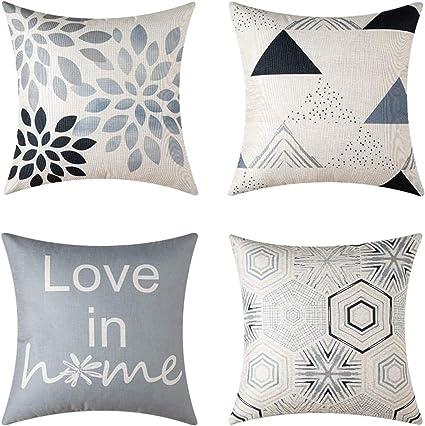 Oferta amazon: MIULEE Juego de 4 Lino Cojines Dibujo Geométrico Funda de Cojín Almohada Caso de Decorativo Cojines para Sala de Estar sofá Cama18 x18 Pulgadas 45x45cm Gris