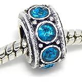 "Jewelry Monster Antique Finish ""Zircon Blue"" December Birthstone Spacer Charm Bead for Snake Chain Charm Bracelet"