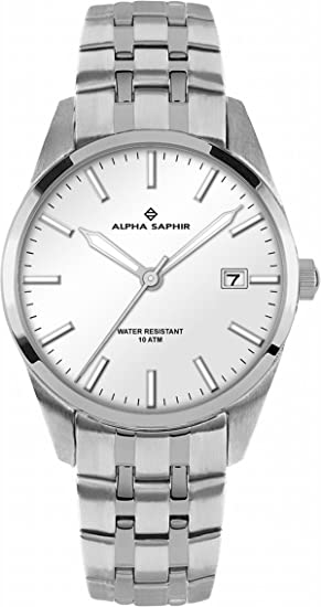 Alpha Saphir - Reloj para hombre, acero inoxidable, color plateado: Jacques Lemans: Amazon.es: Relojes