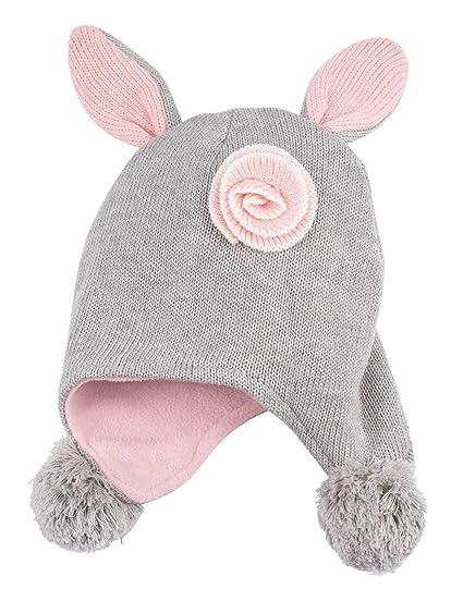 046b4eba261 Eriso Toddler Girl Winter Bunny Hat Knit Rabbit Beanie Cap for Baby (1-2