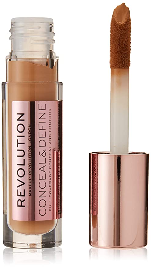 Makeup Revolution Conceal and Define Concealer, C12 Brown, 3.4ml