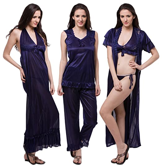 af87a88c60bc7 Fasense Satin Nightwear 6 Pcs Set of Nighty Robe Top Pajama Bra ...