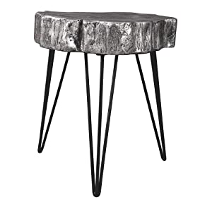 Ashley Furniture Signature Design - Dellman Natural Edge Accent Table - Contemporary Chic - Antique Silver Finish
