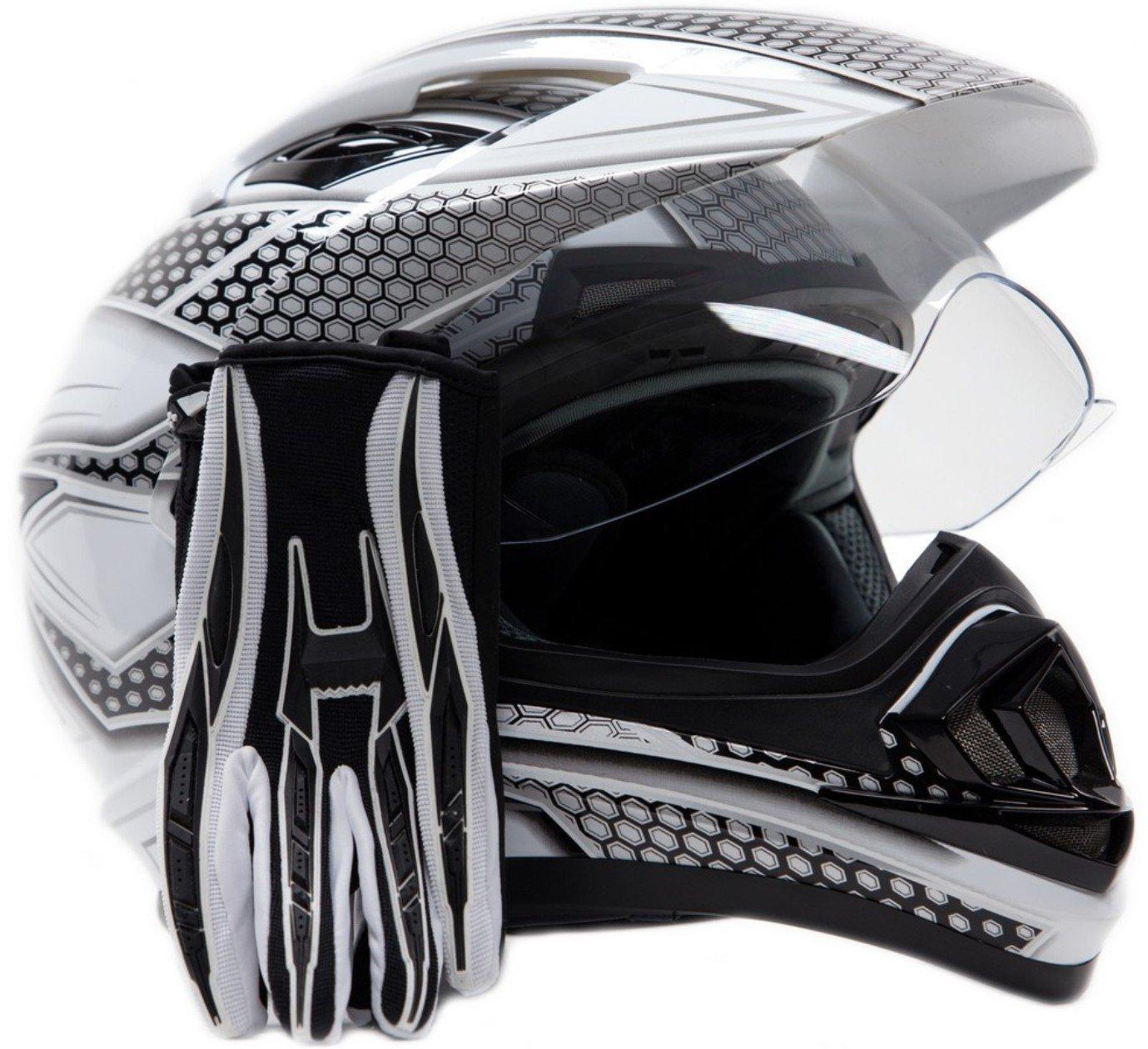 Dual Sport Helmet Combo w/Gloves - Off Road Motocross UTV ATV Motorcycle Enduro - Silver, Black - XXL