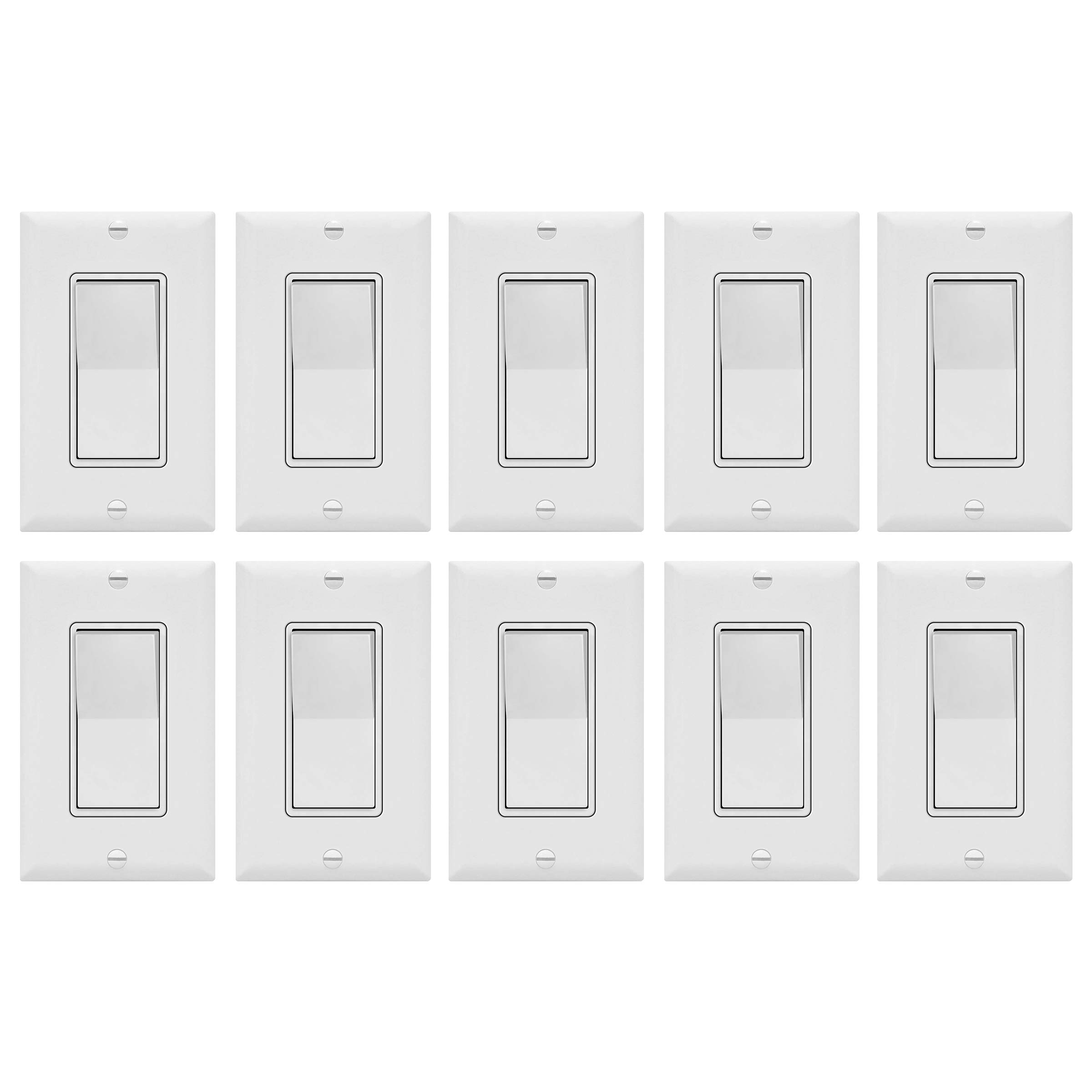 Enerlites Decorator On/Off Paddle Wall Switch with Covers, 91150-WWP | 15 Amp, 120-277VAC, Single Pole, 3 Wire, Grounding, Residential and Commercial Graded Light Switches, UL Listed | White - 10 Pack by ENERLITES