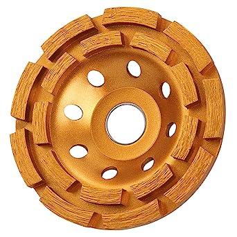 KSEIBI 644030 4-1/2-Inch Double Row Diamond Cup Grinding Wheel Gold
