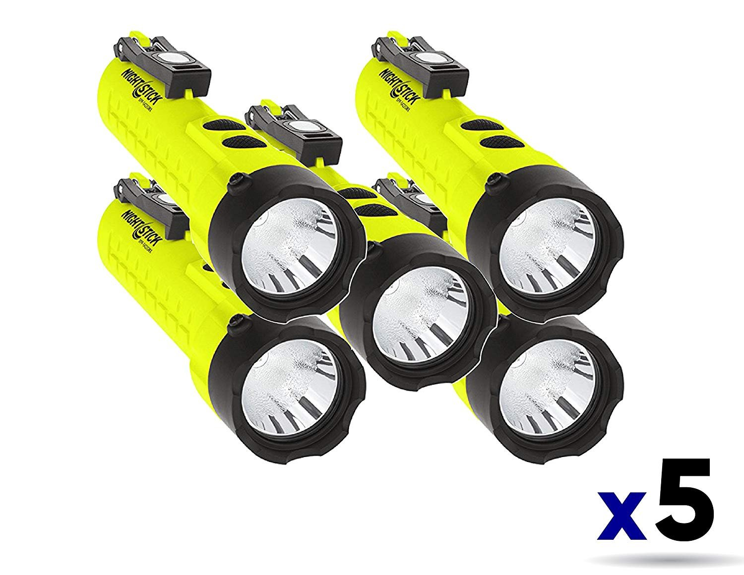Nightstick XPP-5422GMX X-Series Intrinsically Safe Dual-Light Flashlight with Dual Magnets Green/Black (5 Pack)