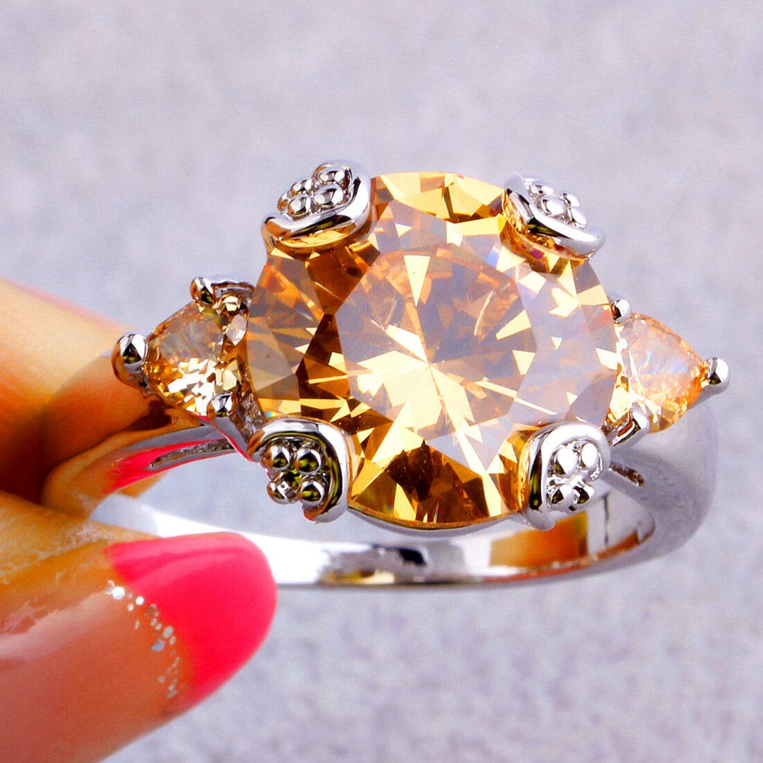 The Sun Jewelry Clearancel Sale Dainty Round Cut Morganite Gemstone Silver Ring Size 6 7 8 9 10 11