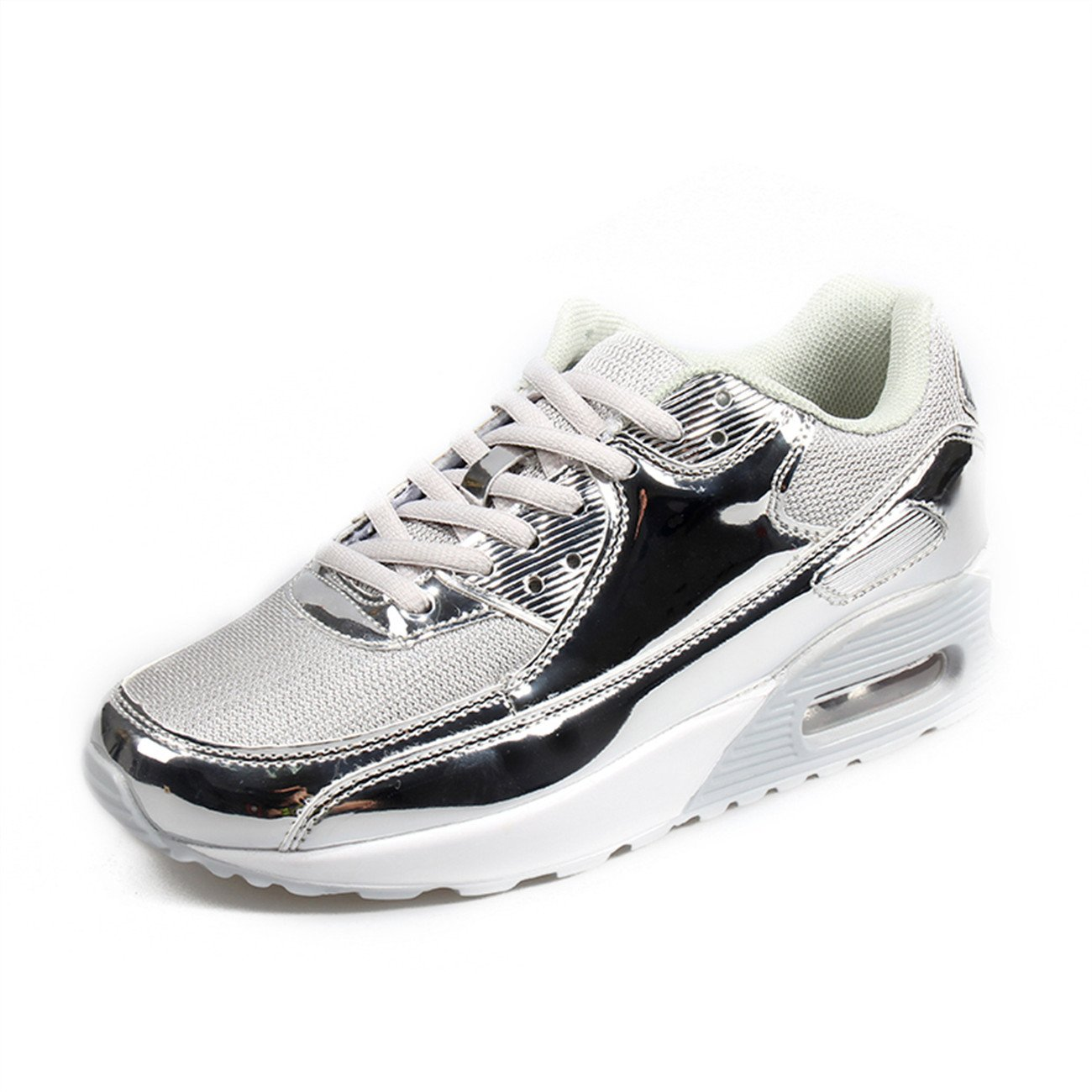 XINGLAN Men Women Unisex Couple Casual Running Sneakers Breathable Athletic Air Cushion Sports Shoes B073QVSHQZ Men 12 D(M) US|Silver
