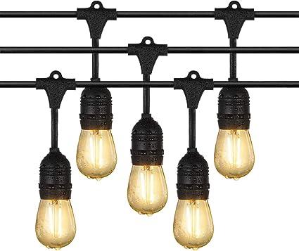 Cadena de Luces, iEGrow Guirnalda de Luces 33 Pies, Guirnaldas Bombillas Luminosas 10 x ST45 luz blanca Bombillas LED (2W/200 Lumen cada pieza,220V) Para Interior/Exterior: Amazon.es: Hogar