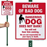 SmartSign Beware of Bad Dog Yard Sign, We are Not Responsible for Your Injury Or Death - Funny Beware of Dog Signs for Yard/Lawn | 12 x10 Inches Aluminum Metal Sign with 3 Feet Stake