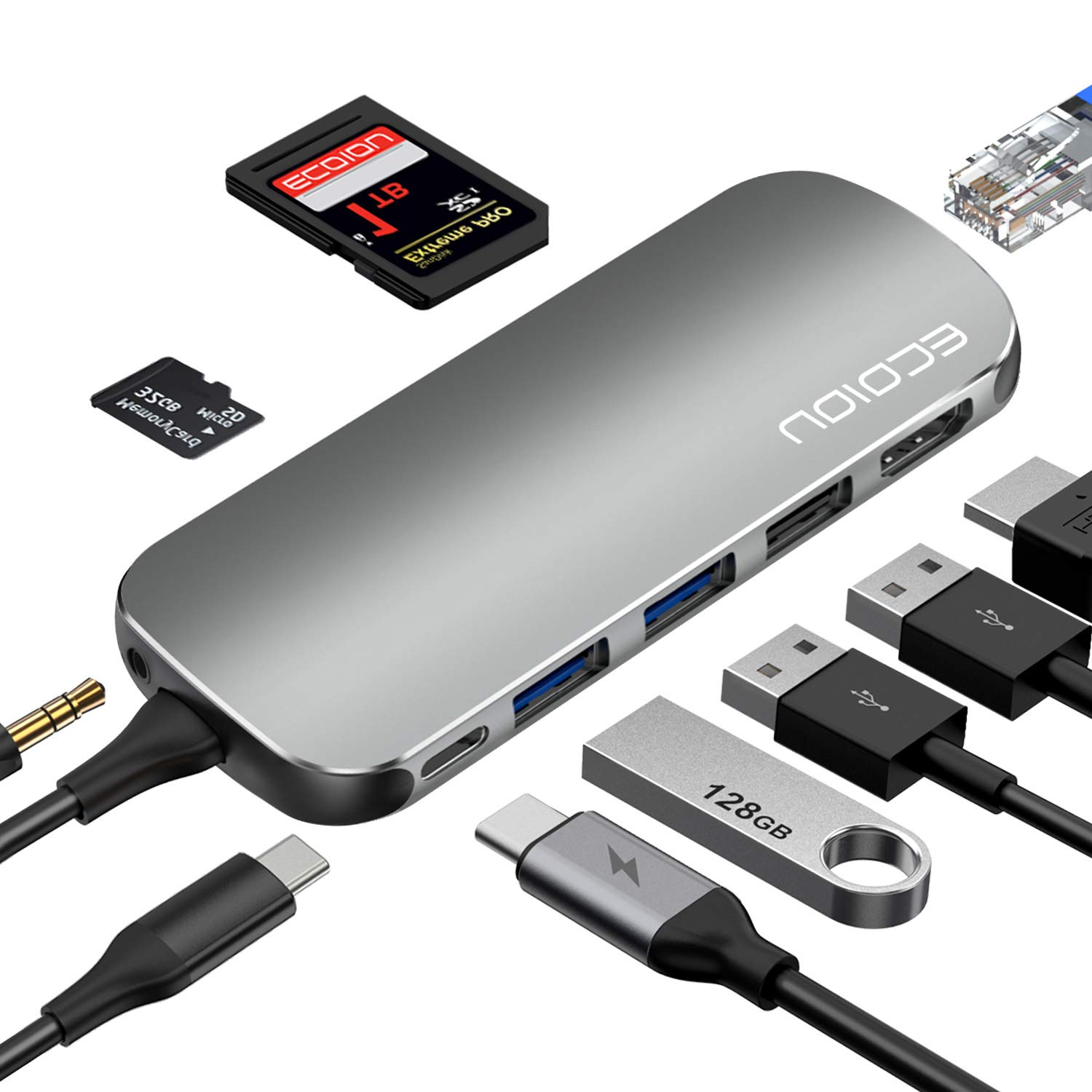 USB C Hub,ECOIOU 9-in-1 Ports Type-C Hub Adapter for 4K HDMI, USB 2.0/3.0 PD Power Delivery, SD 3.0 Card Reader, Ethernet, Audio Jack, Compatible with MacBook, Surface, PixelBook, USB-C Smartphones by ECOIOU