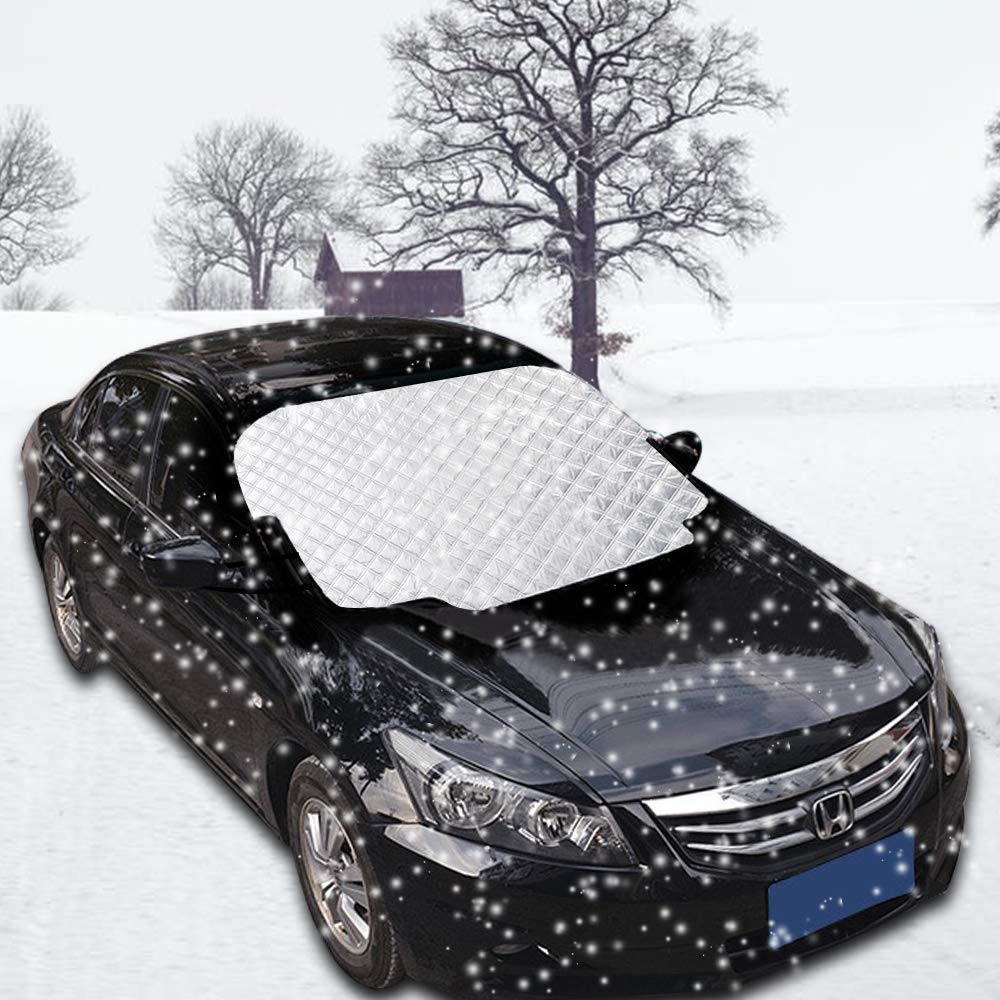 HWeggo Windshield Snow Cover, Windscreen Frost Protector with Magnetic for All Weather Anti-Frost Ice, Dust Protector, Season Sap Leaves Dirt Dust Debris, 147 X 116 CM
