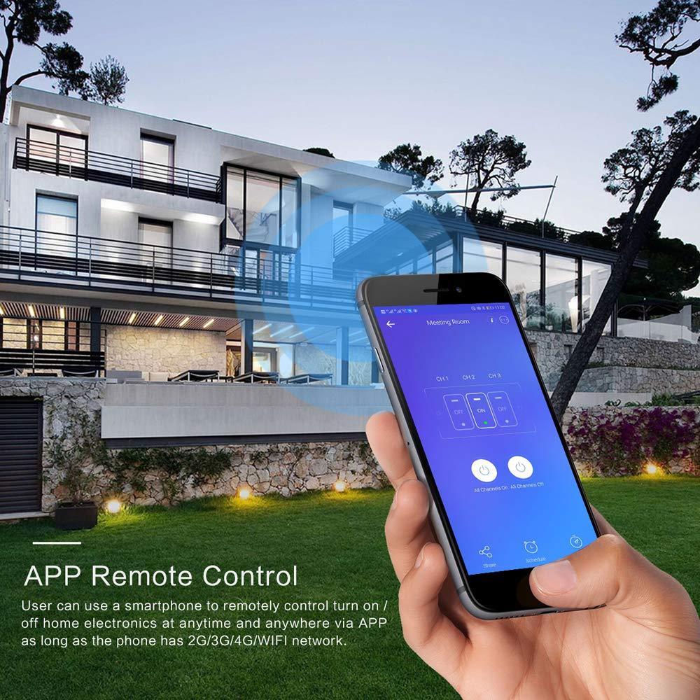 funci/ón de temporizador Sensor de interruptor de pared Compatible con  Alexa Google Home Lemonmax Interruptor de luz inteligente se requiere l/ínea neutra control remoto inteligente ON//OFF