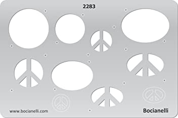 Plastic Stencil Template for Graphical Design Drawing Drafting Jewellery Making - Peace Sign Pendant Earrings Hippies Hippie