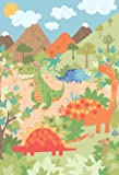 """Riva Paoletti Kids Dinosaur Wall Art Mural - Green - Adaptable Wall Paste Application - Paste Included - 158 x 232cm (62"""" x 91"""" inches) - Designed in the UK"""
