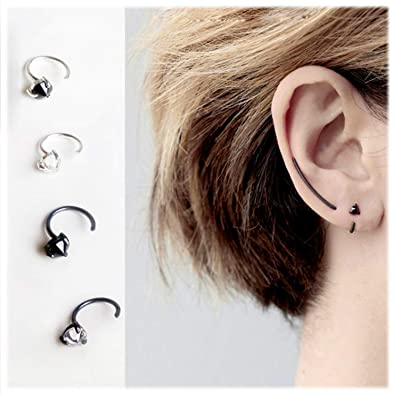 a9832a22df9 Amazon.com: 925 Sterling Silver Piercing Ear Cuffs Triangle Fake Cartilage  Earrings Ear Wrap Clip on Cuff (A Pair): Jewelry