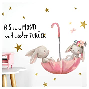 Little Deco Wandtattoo Babyzimmer Hasen & Spruch Bis zum Mond I A4 ...
