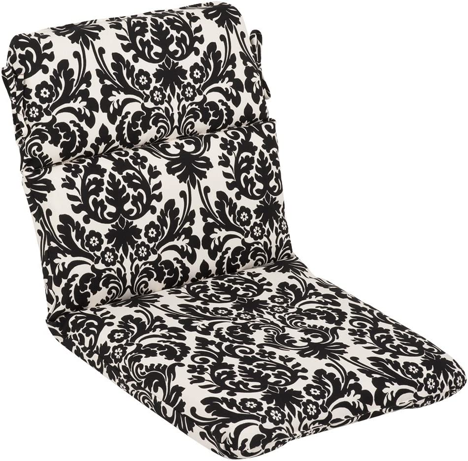 Pillow Perfect Outdoor Essence Damask Rounded Corner Chair Cushion, Black Beige