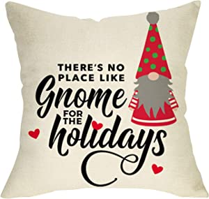 FBCOO There's No Place Like Gnome Decorative Throw Pillow Cover, Christmas Cushion Case Decor Xmas Home Decoration Sign, Winter Holiday Farmhouse Square Pillowcase for Couch 18 x 18 Cotton Linen