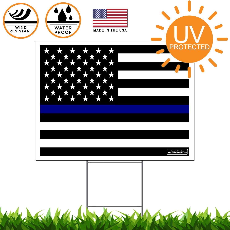 Delgada línea azul bandera de Estados Unidos – bandera de pro-police – Yard Sign/jardín señalización 24