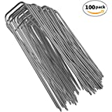 """100-Pack 6"""" Heavy Duty 11 Gauge Galvanized Steel Garden Stakes Staples Securing Pegs for Securing Weed Fabric Landscape Fabric Netting Ground Sheets and Fleece"""