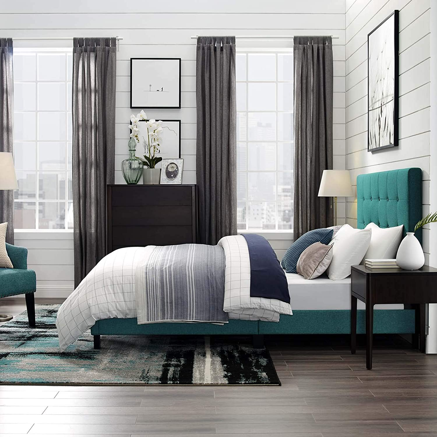 Modway Melanie Tufted Fabric Upholstered Queen Platform Bed in Teal