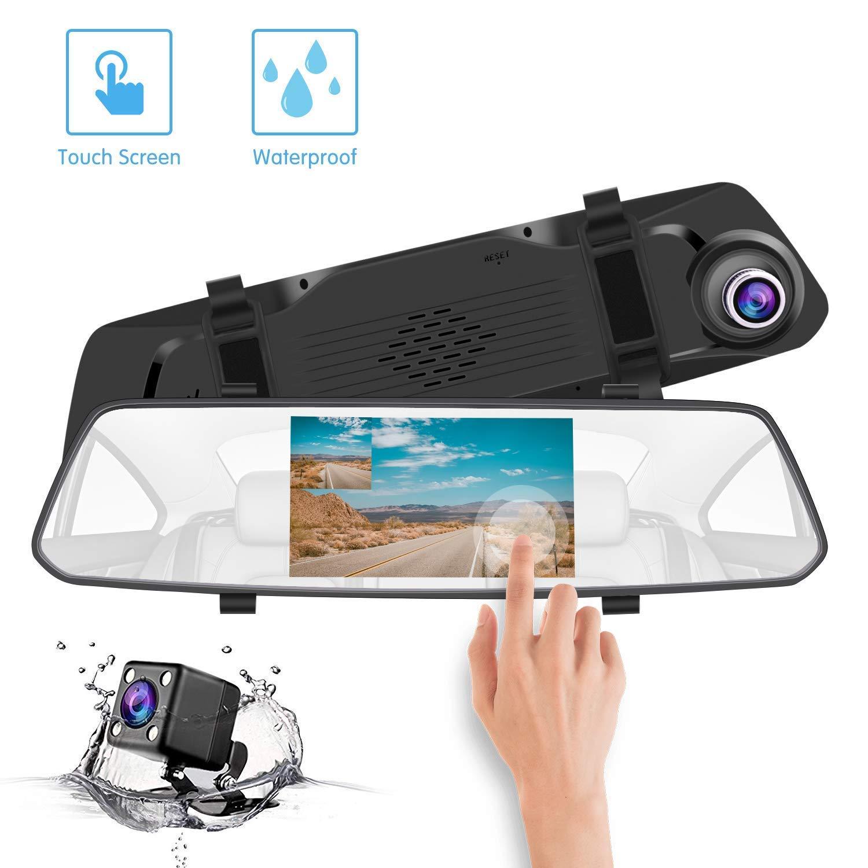Mirror Dash Cam 5.0 pulgadas Cá mara de doble lente 2.5D 1080p FHD, visió n nocturna visión nocturna COOLtry 5.0 inch Touch