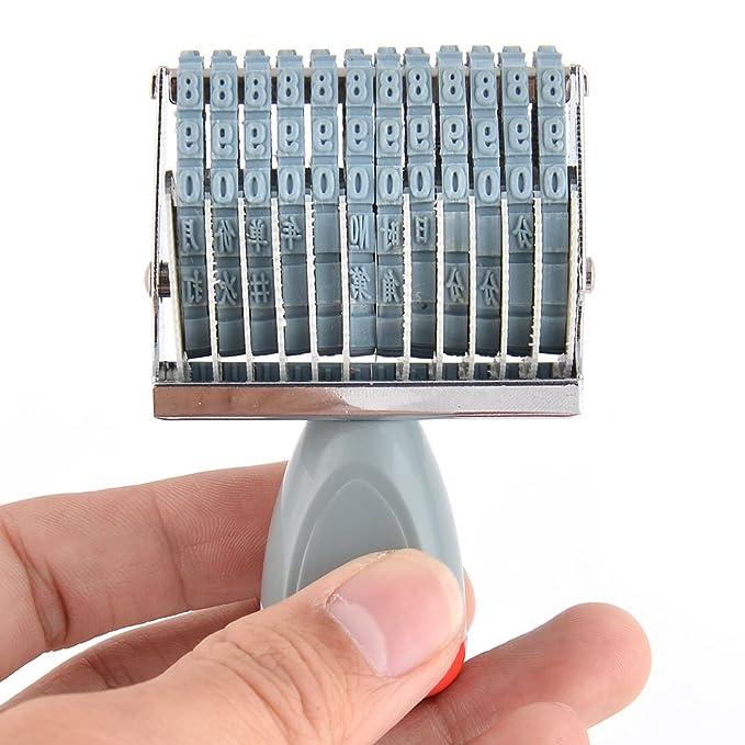 Amazon.com : Goma de la oficina eDealMax 12 Banda de la rueda del balanceo de dígitos 0-9 Fecha Numeración impresora sello : Office Products