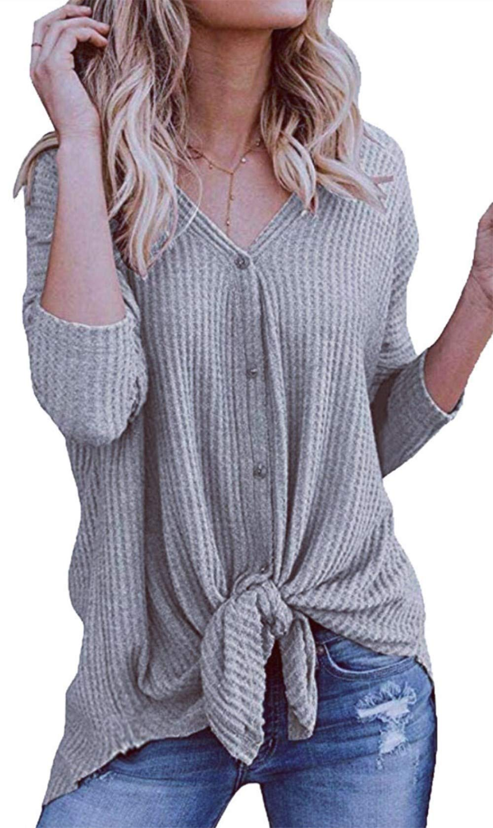 elescat Womens Sweaters Knited Cardigan Long Sleeve Tops Knot Henley Shirts V Neck Blouses (L,Grey)