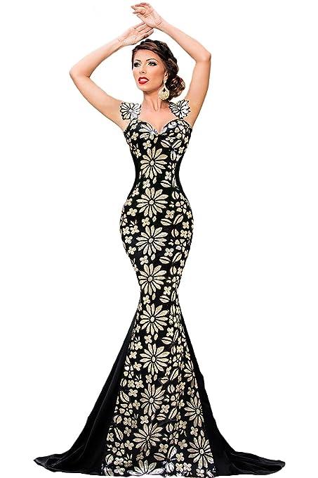 Elegante mujer largo negro y dorado diseño de flores adornada con lentejuelas noche cóctel fiesta Prom
